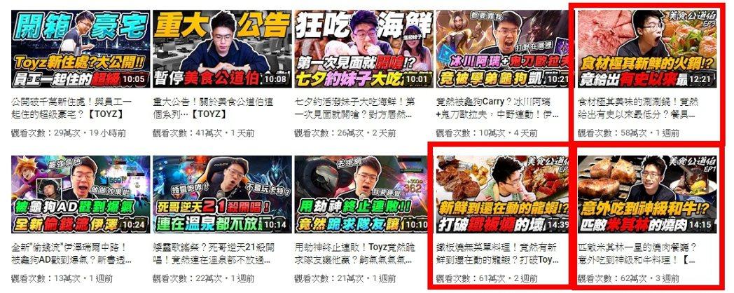 「美食公道伯」系列影片人氣超旺,每部至少有50萬以上的點閱率/圖片截自Youtu...