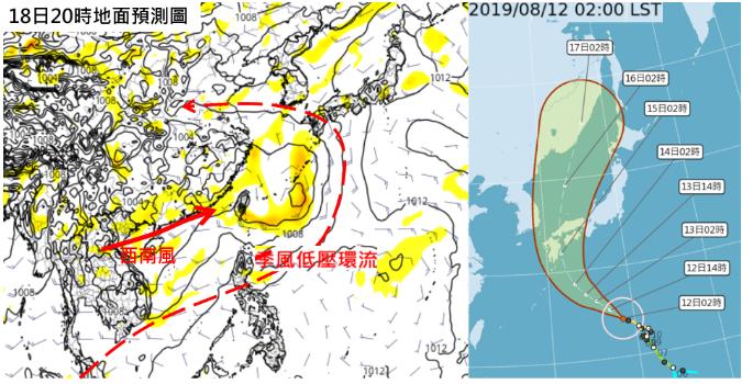 吳德榮說,最新歐洲中期預報中心模式,模擬顯示18日20時季風低壓環流內西南風,持...