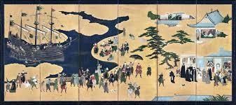 日本法定重要文化財「南蠻屏風」。圖/故宮提供