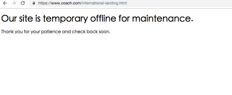 記者搜尋Coach的國際外文官網,赫然發現已暫時被下架,網頁顯示暫時維護中。圖/...