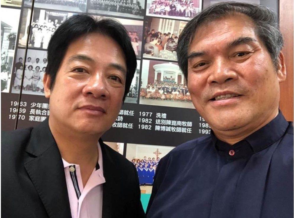 行政院前院長賴清德(左)最近與喜樂島聯盟黨主席羅仁貴會面。圖/取自喜樂島之友臉書
