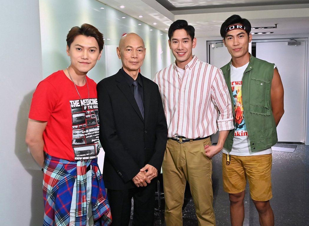 羅家英(左二)與邱宇辰(左起)、楊騰、邱九儒對戲。圖/八大提供
