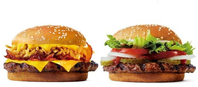 勁濃培根牛堡(左)單點售價129元、原味/辣味華堡(右)單點售價110元,以及。...