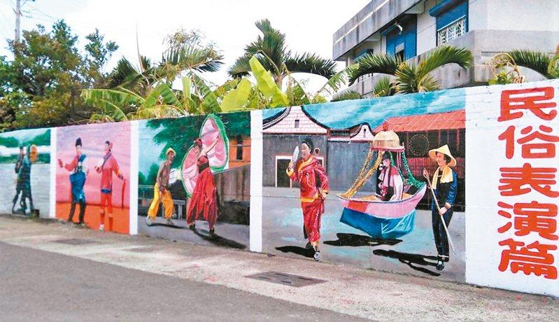 屏東縣車城鄉保力村是台灣最南端的客家庄,客家母語卻早已消失,社區為搶救流失中的祖先文化,在主要街道以彩繪牆生動呈現保力庄的前世與今生。 記者潘欣中/攝影