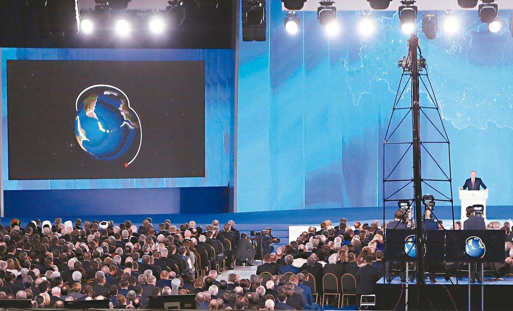 俄國總統普亭去年三月對國會發表國情咨文演說時,用動畫影片介紹研發中的核動力飛彈「...