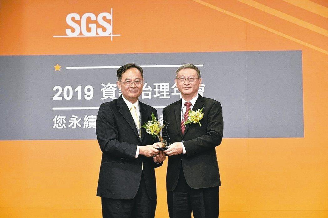 富邦產險獲SGS 2019個資保護卓越獎,SGS資深副總裁黃世忠(左)與富邦產險...
