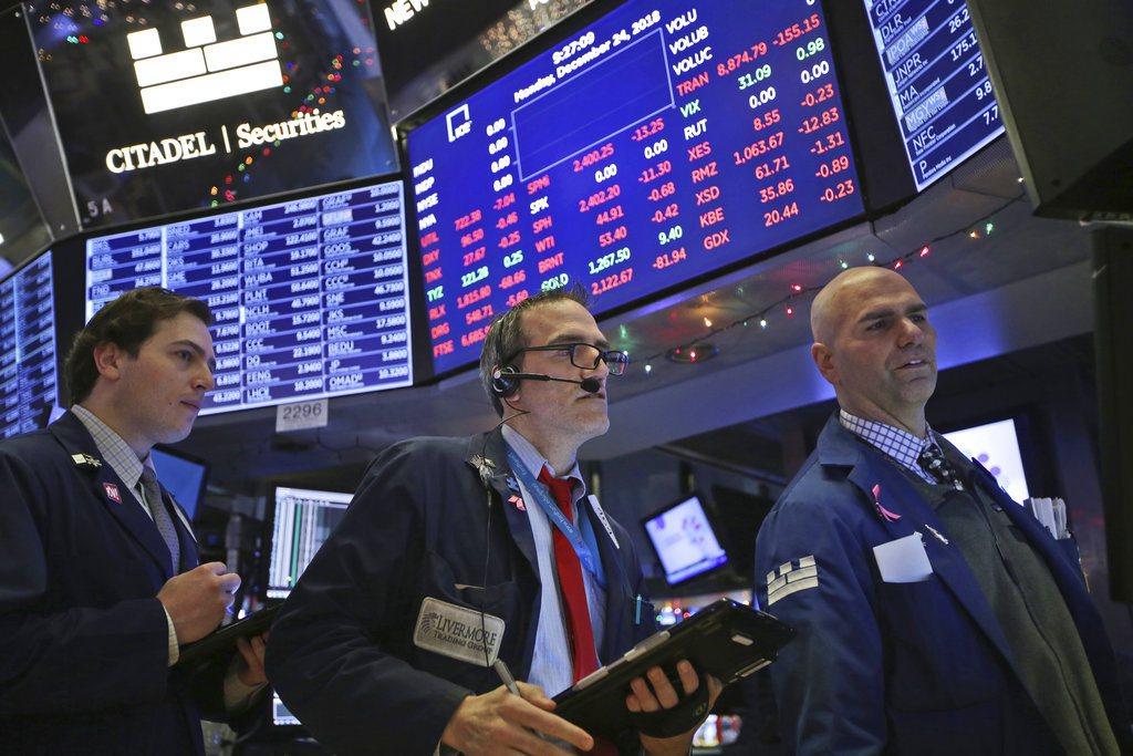 市場擔心成長趨緩,及美、中貿易戰衝擊,美股收黑。 美聯社
