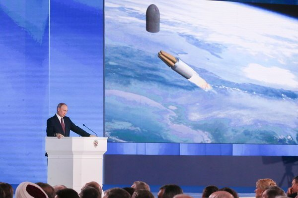俄羅本月8日疑似測試飛彈使用的小型核子引擎失敗發生爆炸。圖為俄國總統普亭去年對國...