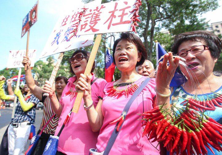 國民黨前主席洪秀柱4年前總統選舉,在「換柱」前,所到之處都出現國旗和辣椒。 ...