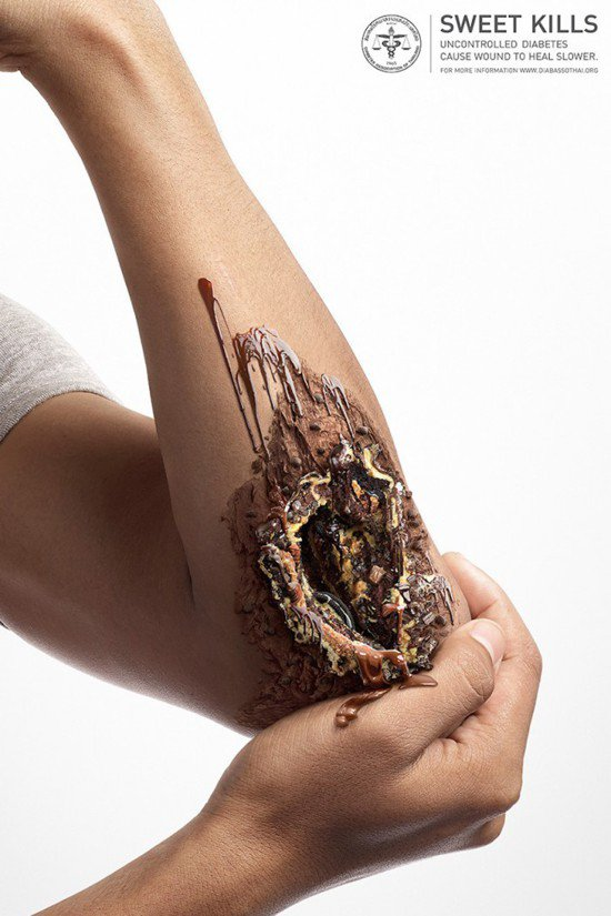 曼谷設計師Natakon Gensem創作一系列海報,將傷口結合甜食和糕點,藉此...