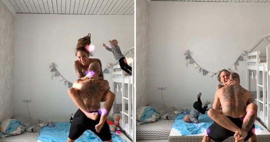 俄羅斯一對夫妻忙著拍攝抖音影片,沒發現年僅3歲的兒子從床上一躍而下。圖擷自IG ...