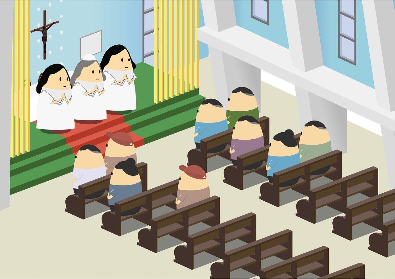 宗教節慶-菲律賓天主教彌撒(聖多福天主堂)。(圖/尼普利提供)