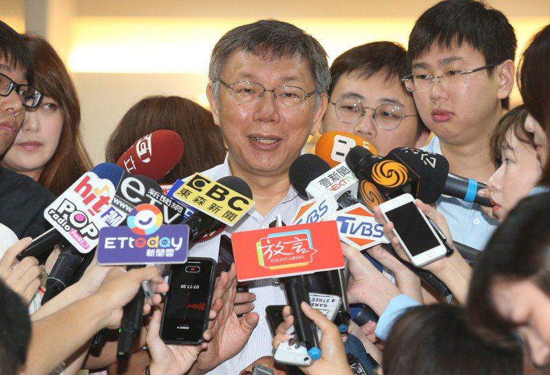 台北市長柯文哲上午接受媒體訪問。記者林俊良/攝影