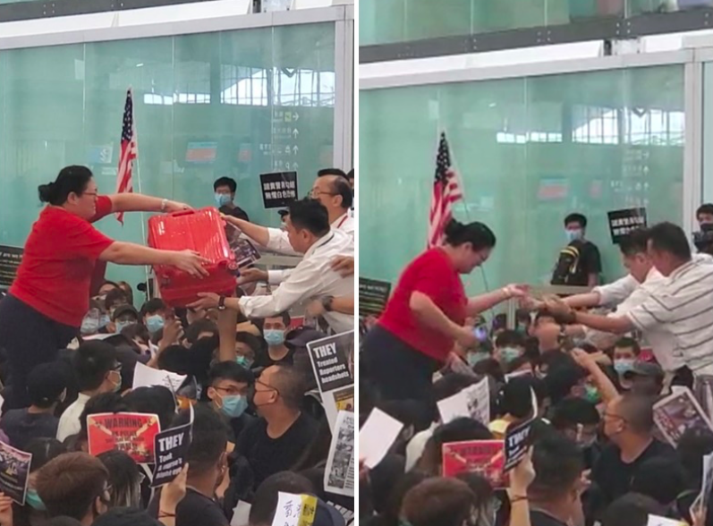 一名身材壯碩的女士需要機場職員協助才能跨越示威者進入離境禁區。圖/取自星島網