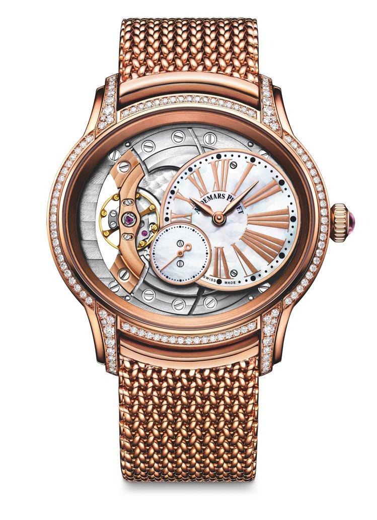 愛彼千禧系列玫瑰金鑲鑽手上鍊機械女表,150萬1,000元。圖/愛彼表提供