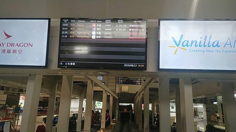 因香港機場運能尚未完全恢復,今高雄小港國際航空站往香港11航班中,計取消7航班,影響人數達近約1500人。記者邱奕能/攝影
