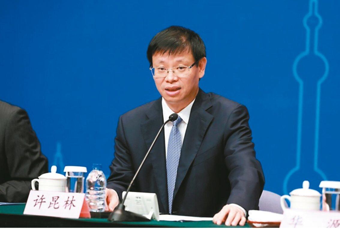 上海市副市長許昆林13日宣布上海市新一輪服務業擴大開放。 圖/取自上海發布