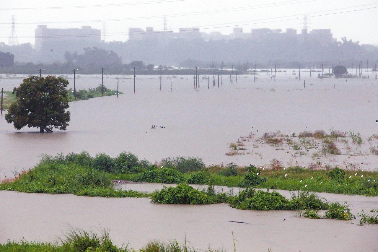 暴雨狂炸南台灣,高雄阿蓮二仁溪溪水暴漲,附近農田全泡在水中,作物幾遭淹沒。 記者...