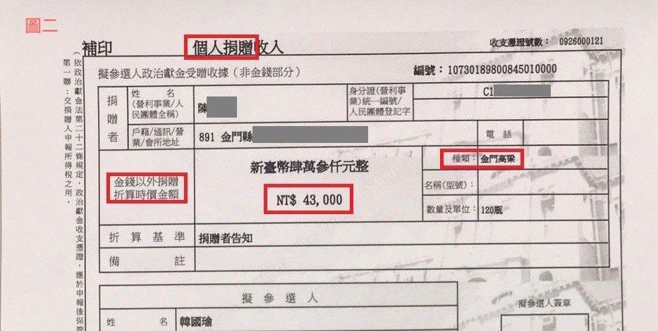 價值金額43000元的金門高粱之捐贈日期是107年9月26日。圖/韓國瑜競選總部...