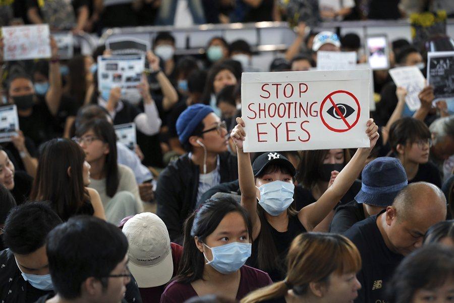 香港機場和平靜坐現場。攝於8月12日,香港。 圖/美聯社