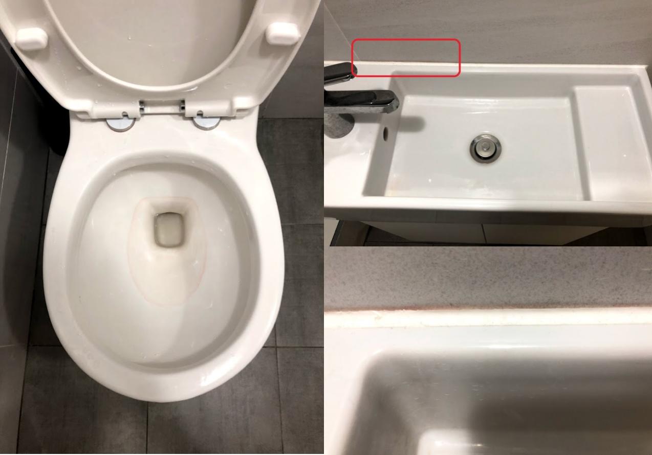 網友在論壇表示自己新裝潢的浴室出現紅色污漬,就算洗了過幾天還會出現。圖擷自mob...