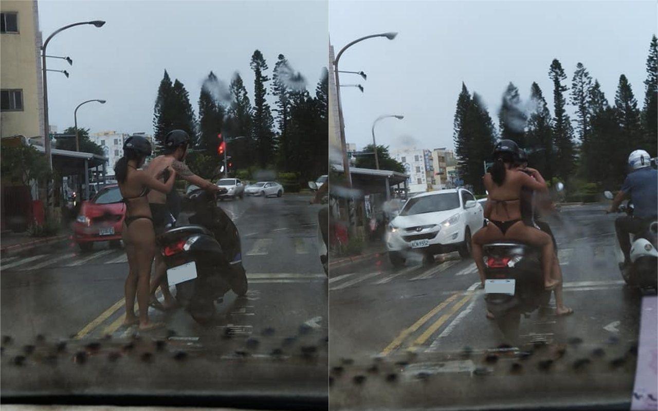 昨(13) 日澎湖馬公市區突來大雨,一對騎機車的男女避雨不及,竟直接在馬路上換裝...