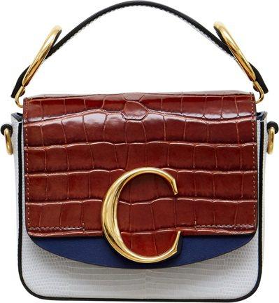 Chloé C藍棕色拼接迷你小方包,售價52,500元。圖/Chloé提供