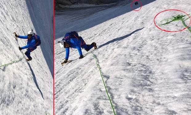 法國議員將登山照片轉向,讓山壁看起來險惡一點。圖取自推特(@ericwoerth...