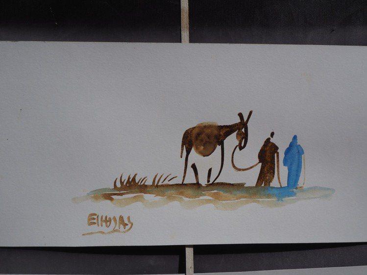 埃本哈杜的燃畫,畫法特別,畫風古拙。記者羅建怡/攝影