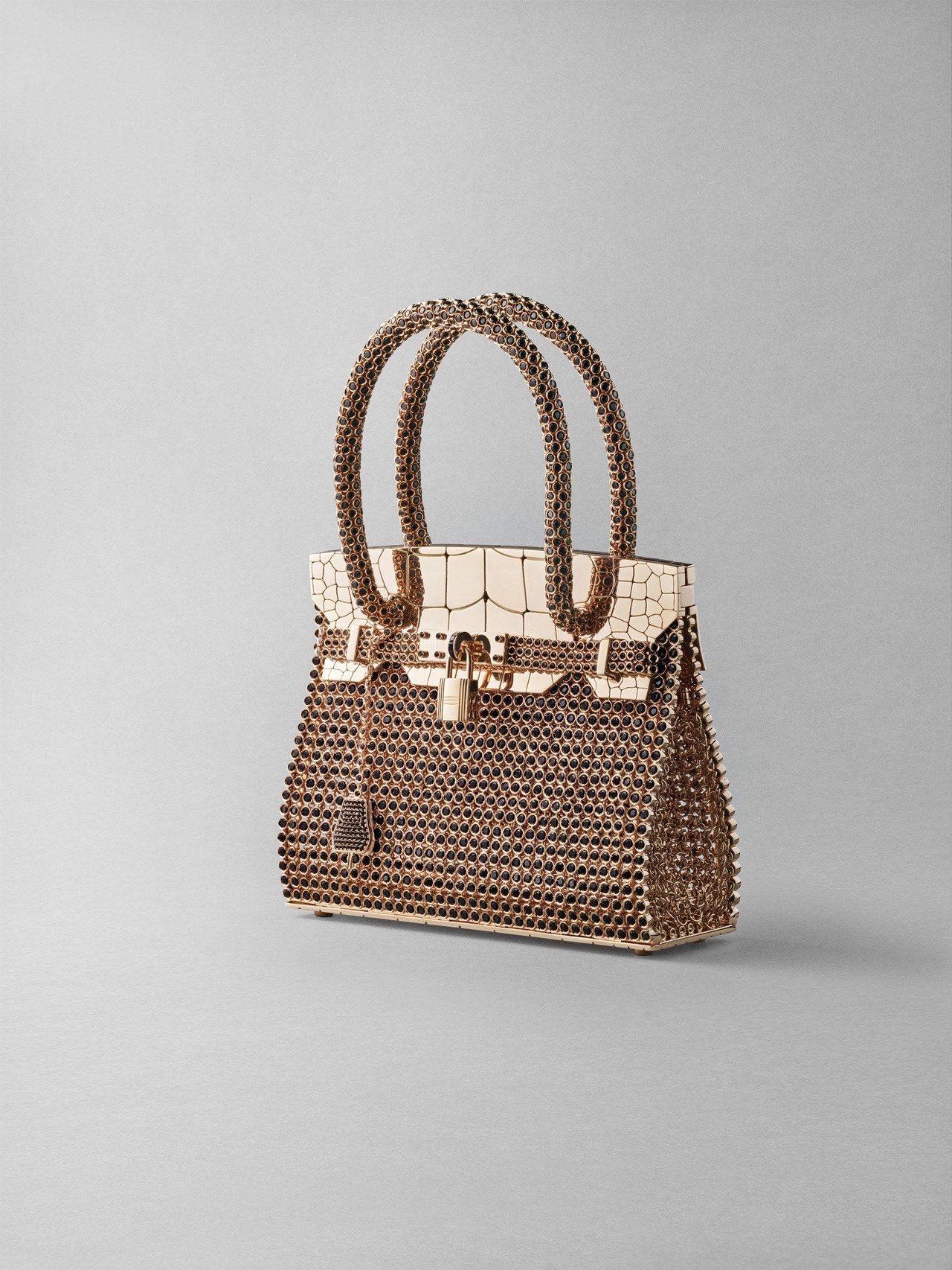 Birkin 系列玫瑰金鑲黑尖晶珠寶包,3,852萬900元。圖/愛馬仕提供