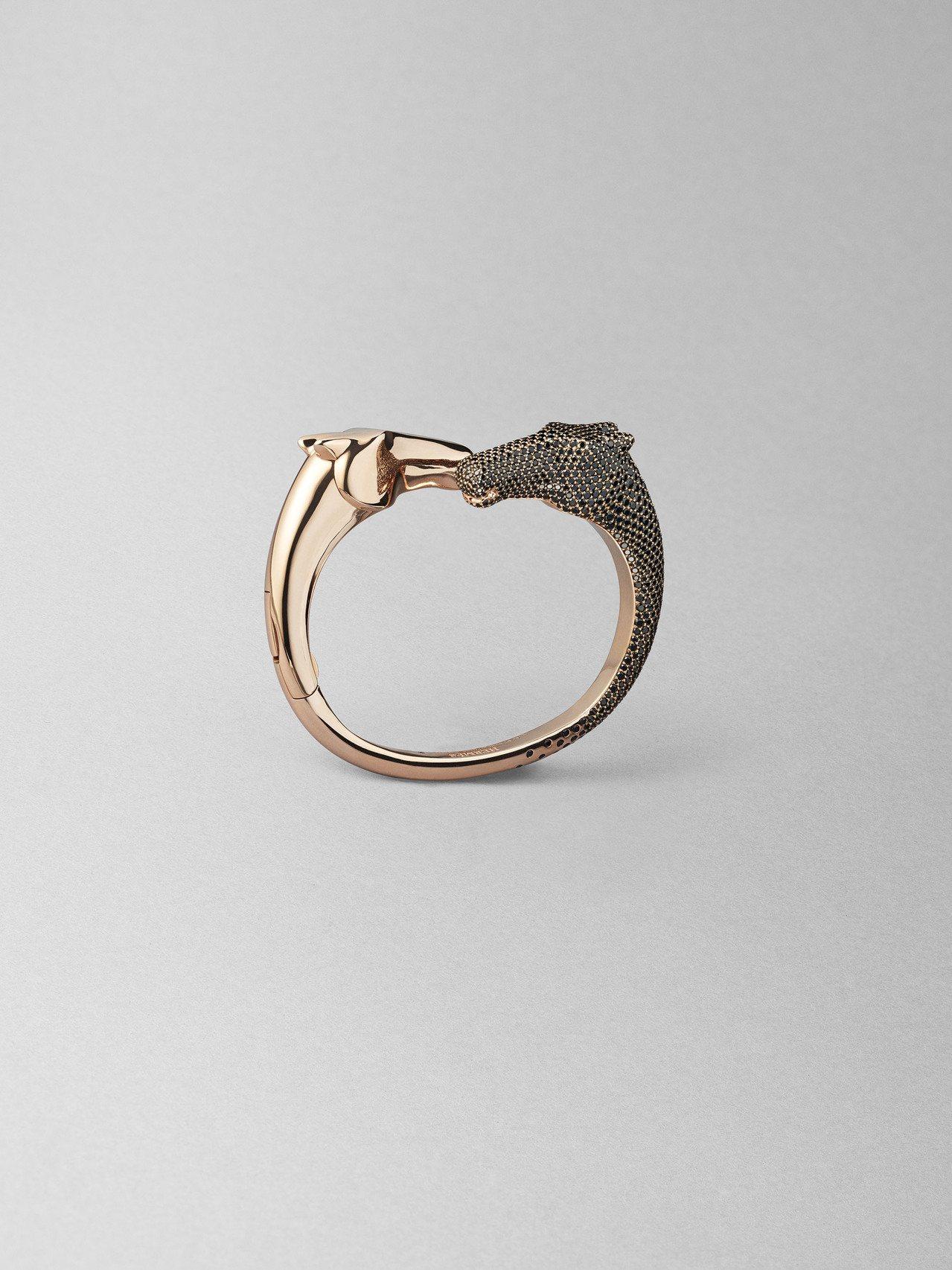 Galop Hermès系列玫瑰金鑲黑尖晶石手環,285萬7,900元。圖/愛馬...