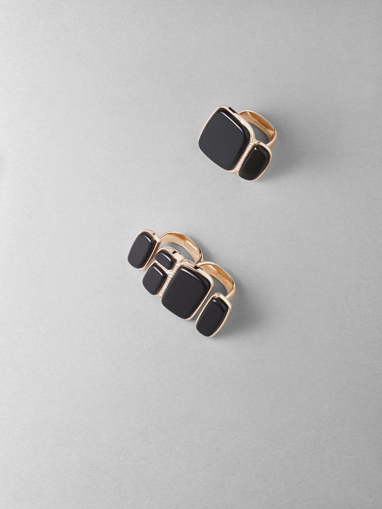 (由上至下)Niloticus Lumière系列玫瑰金鑲白鑽與墨玉戒指,32萬...