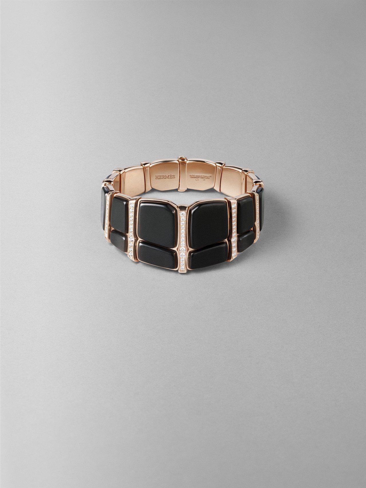Niloticus Lumière系列玫瑰金鑲白鑽與墨玉手環,208萬6,500...