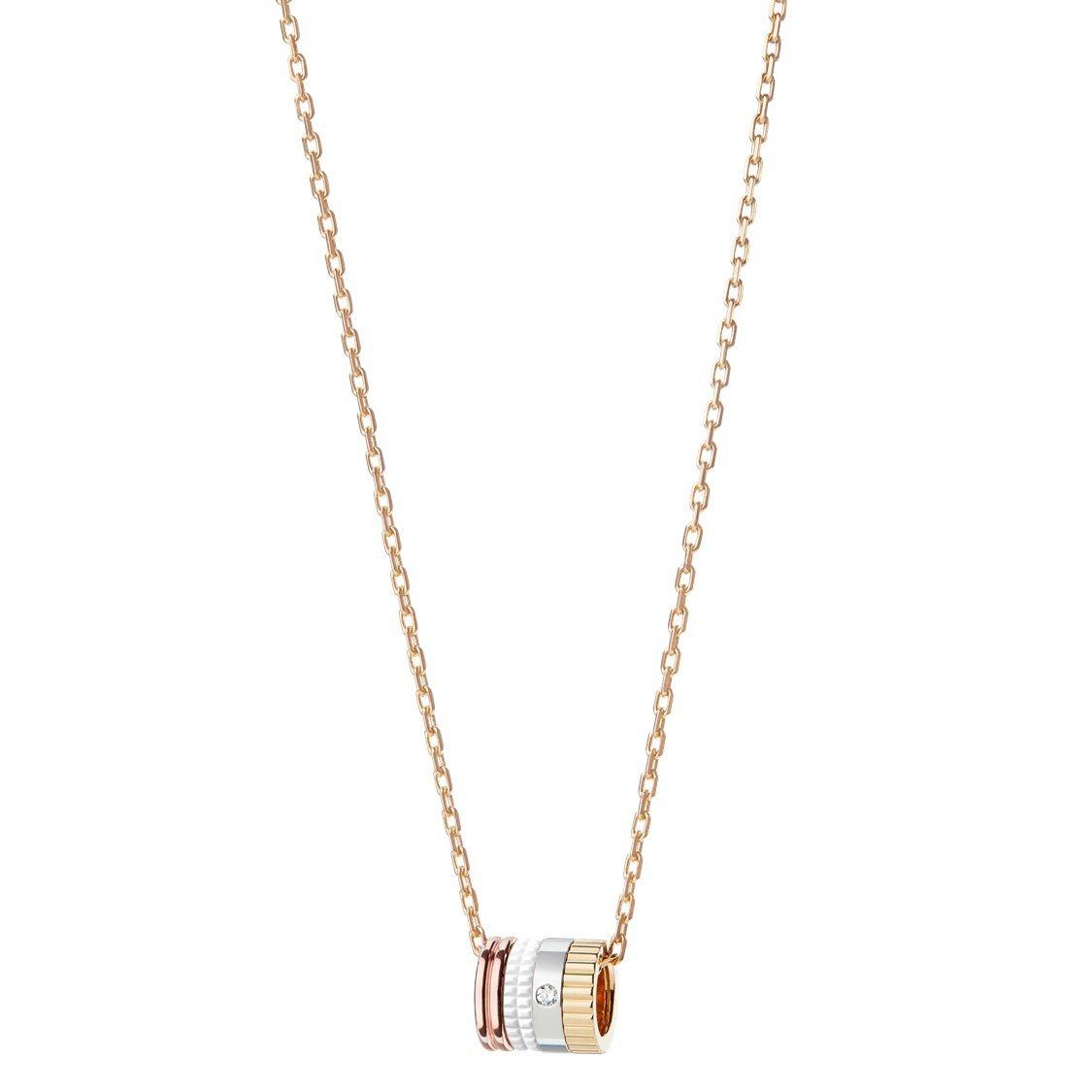 Quatre系列玫瑰金、黃金、白金鑲鑽項鍊,99,000元。圖/寶詩龍提供