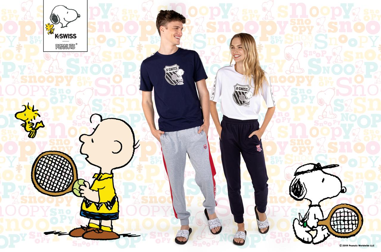 K-SWISS與美國知名漫畫「PEANUTS」合作,推出一系列聯名鞋款與服飾。圖...