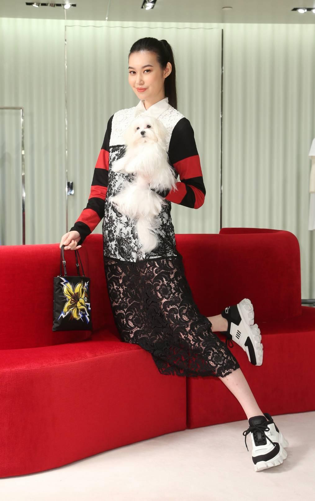 董若彤(Tiffany)穿PRADA條紋蕾絲洋裝14萬1,500元,短袖襯衫29...