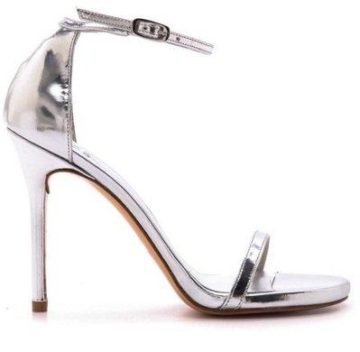Krystal款式Stuart Weitzman銀色閃亮皮革Nudist跟鞋,價...