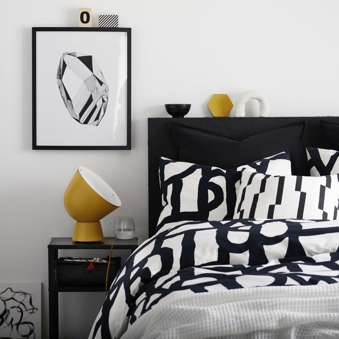 SKUGGBRÄCKA雙人被套組(黑白),售價1,099元,價格會因顏色、材質選...