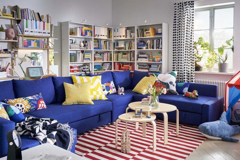 FRIHETEN轉角沙發床附收納空間(Skiftebo藍色),售價13,900元,價格會因顏色、材質選項而改變。圖/IKEA提供