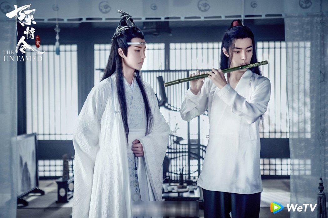 肖戰(右)與王一博主演「陳情令」爆紅。圖/WeTV提供