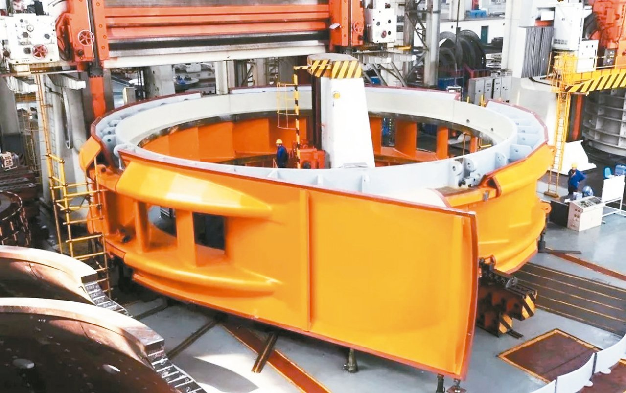白鶴灘水電站左岸機組,由東方電機研發製造;圖為座環全貌。 圖/本報四川德陽傳真