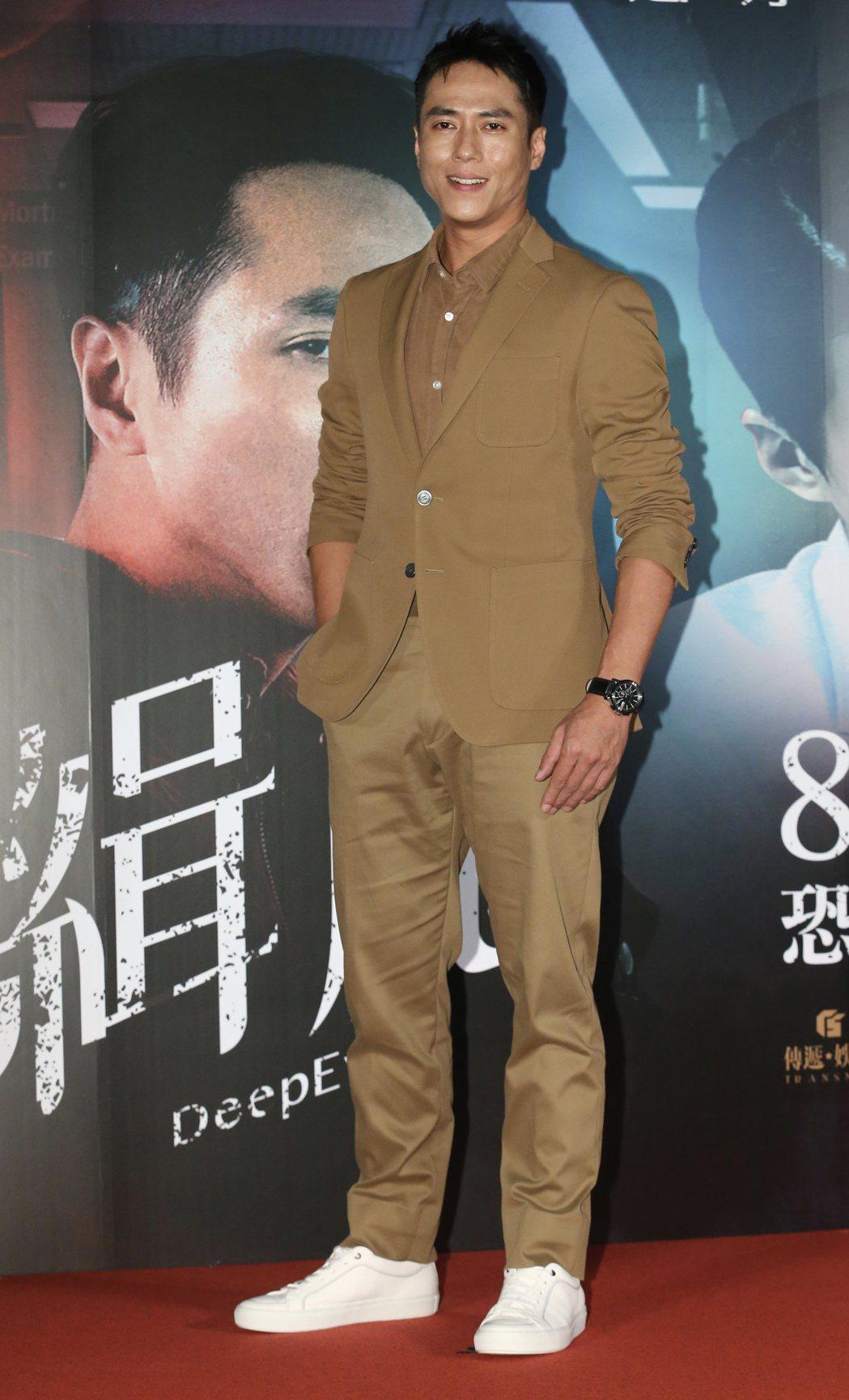國片「緝魔」舉辦首映會,片中演員莊凱勛等人一同出席首映會活動。記者許正宏/攝影