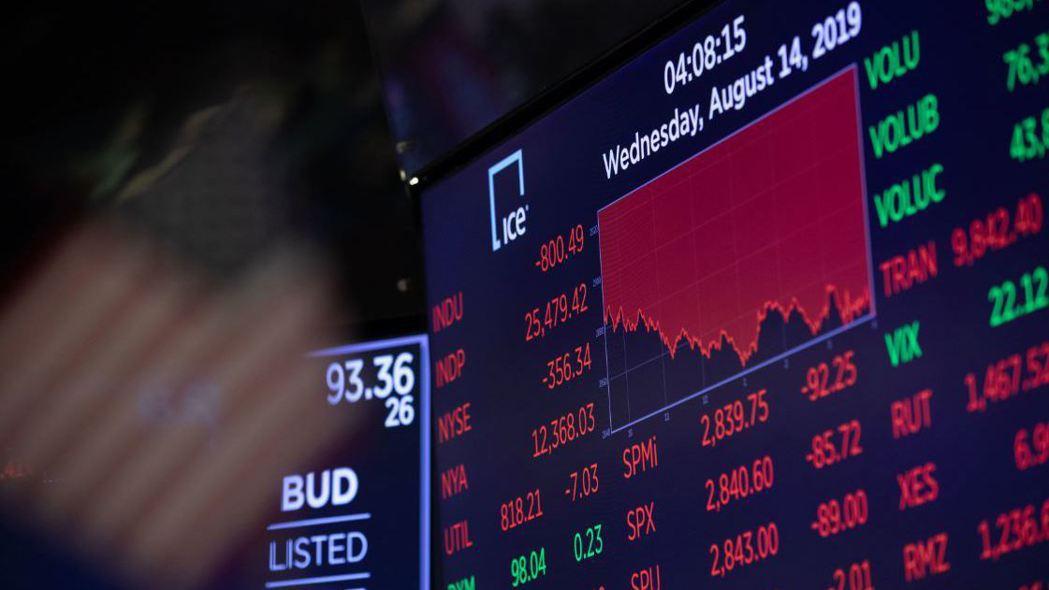 美股周三暴跌,主因投資人擔心經濟陷入衰退。  (新華社)