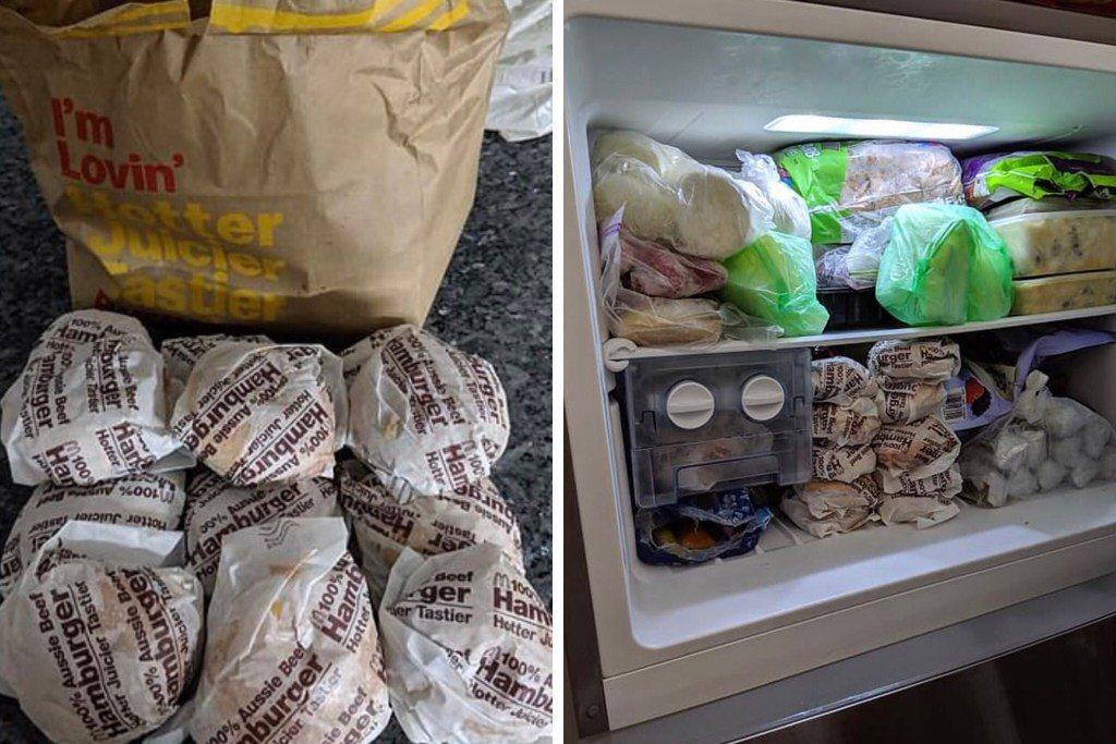 一位澳洲網友分享自己的省錢方式,是去麥當勞購買一堆1元澳幣漢堡堆在冰箱冷凍庫中。...