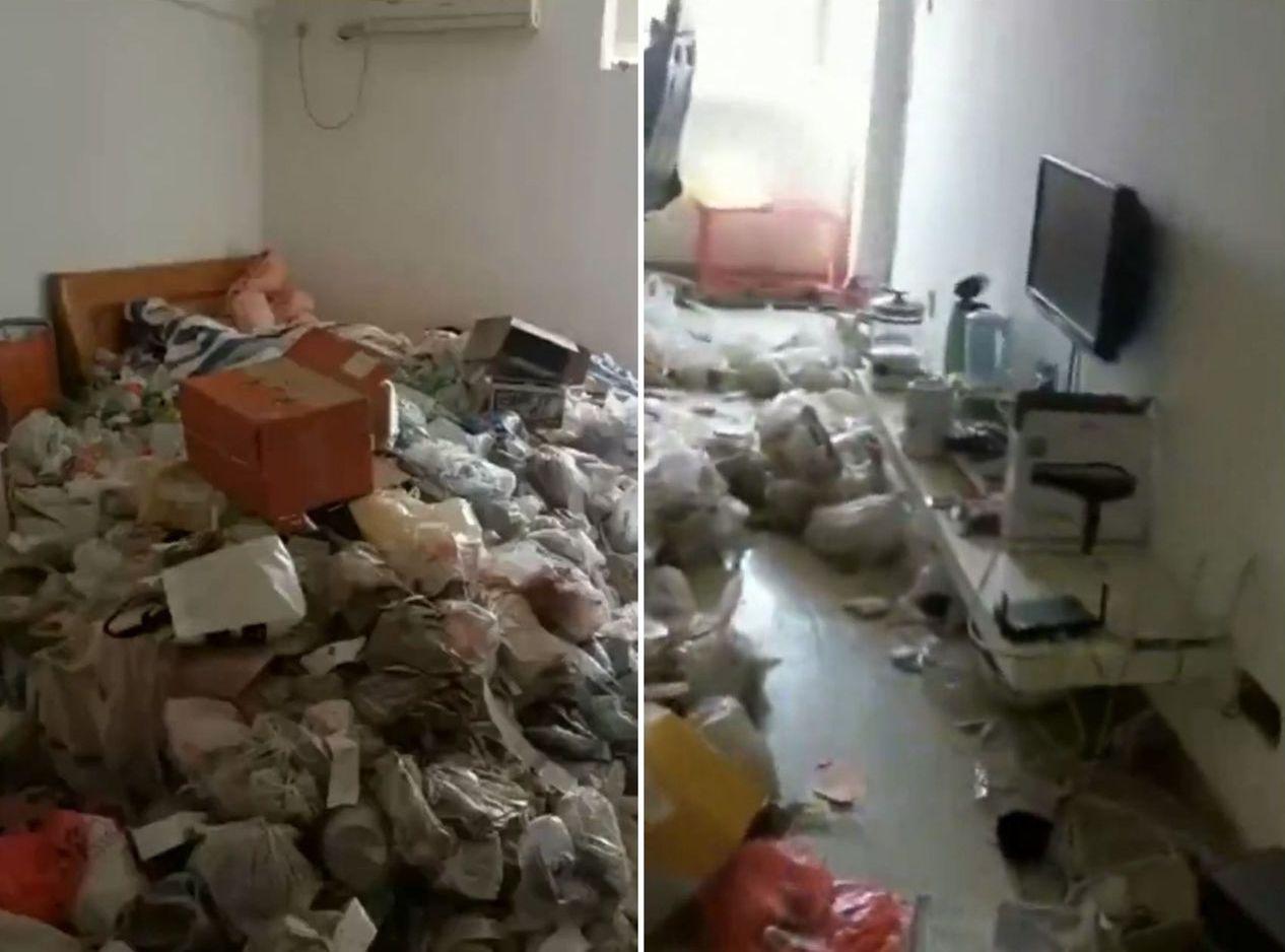 房客租約完結後搬走,留下一屋垃圾。圖/梨視頻影片截圖
