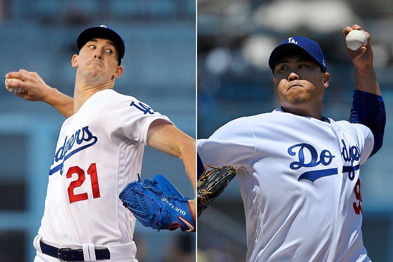 柳賢振(右)和布勒(左)這一左一右兩大強投本季進步神速,兩人已經強到讓很多球迷忘...