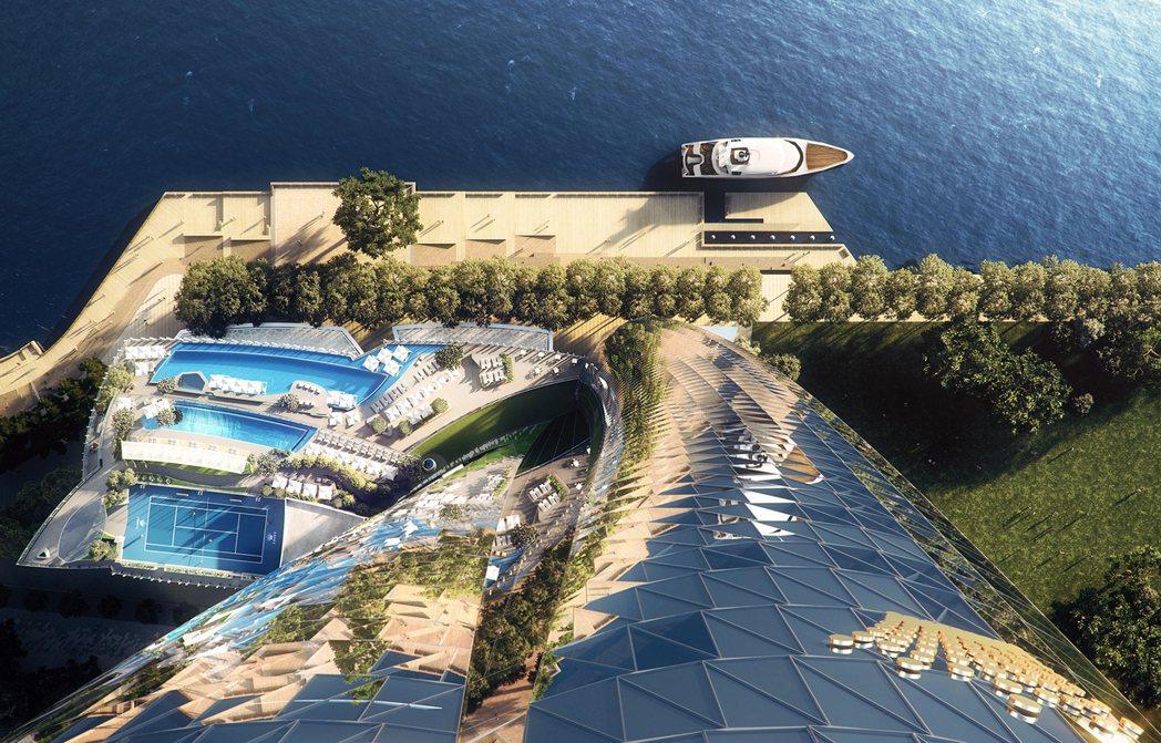 「布朗格魯一號皇冠住宅」坐落於港灣邊,並與六星級酒店複合式開發。圖/Crown ...