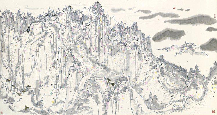 香港蘇富比秋拍拍品之一,吳冠中《日照群峰》,估價約4,800萬元。圖/蘇富比提供