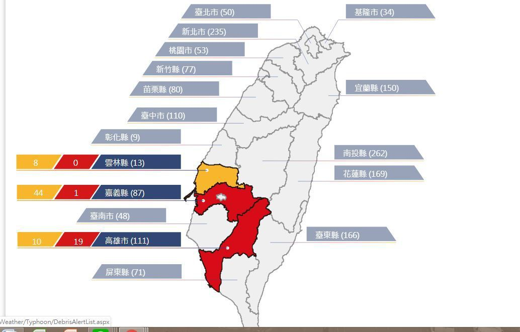 農委會水保局上午發布20條土石流紅色警戒。圖/取自土石流防災資訊網