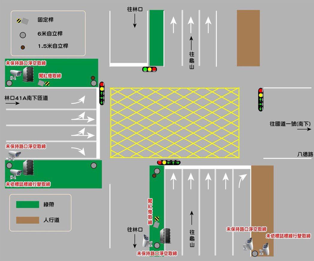 林口交流道科技執法設備平面設置圖。記者巫鴻瑋/翻攝